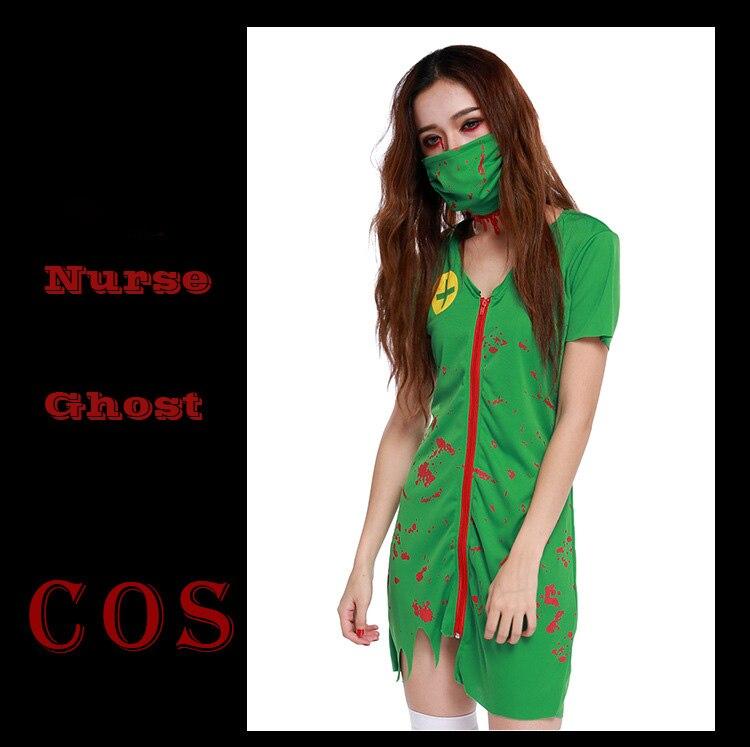Nurse ghost Green Costume for women Halloween canival dress zombie Scarey Cosplay fantasia infantil anastasia veilfancy Elastic