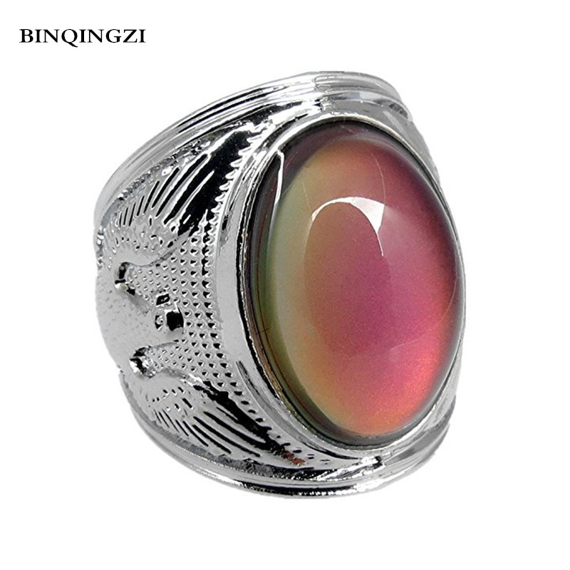 Trendy Big Oval opal Mood Rings for women temperature Color Changing Ring female men