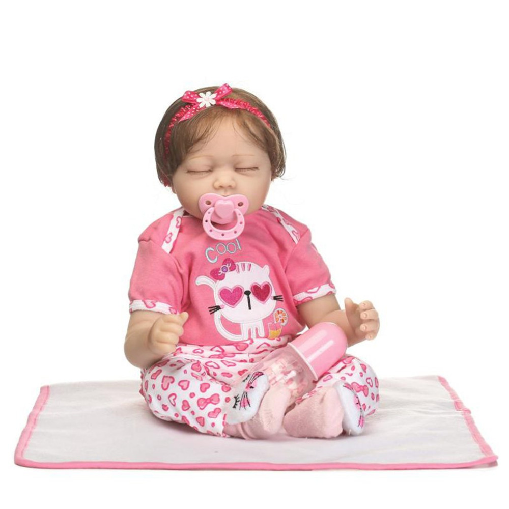 OCDAY 55CM Reborn Baby Doll Toy Cloth Body Soft Silicone Baby Alive Soft Toys Doll Bebe Reborn Doll Kids Playmate Gift For Girls adorable soft cloth body silicone reborn toddler princess girl baby alive doll toys with strap denim skirts pink headband dolls