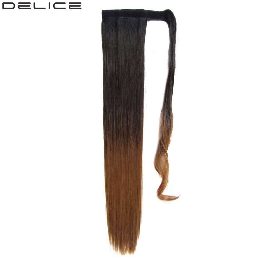 Delice Ombre Blonde Womens Long Straight Ponytail Hook & Loop Tapes Wrap On Ponytails Sy ...