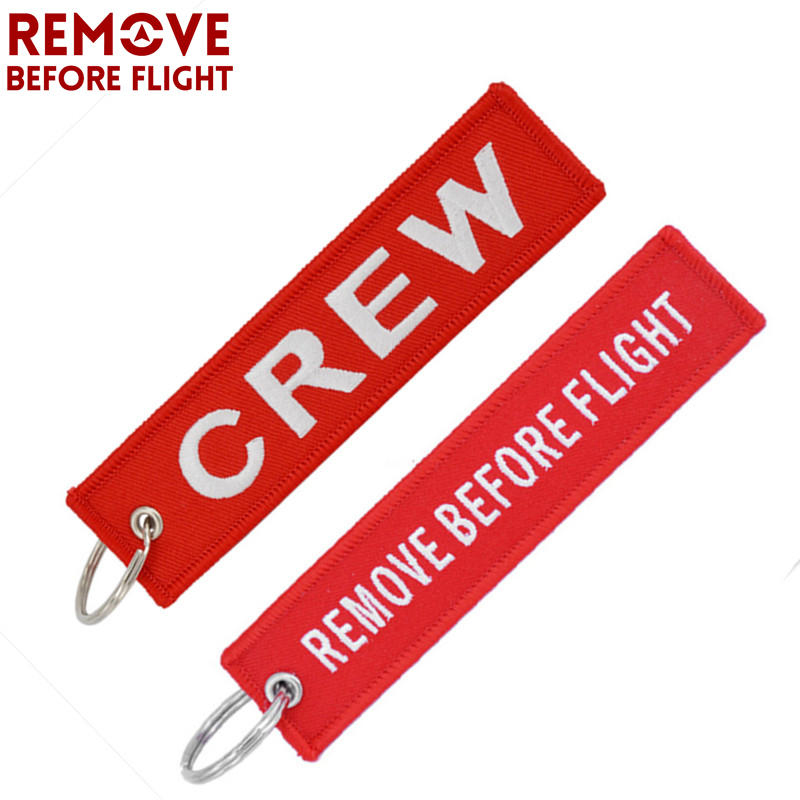 Remove Before Flight Crew Keychain Luggage Tag Safety Label Embroidery Key Chain for Keyring Car Motorcycle Key Tag Llavero 2pcs