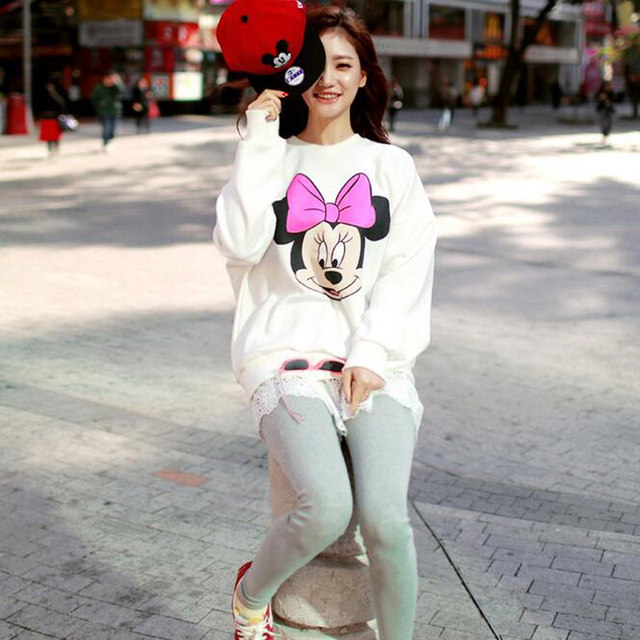 Cute Mickey Print Women Hoodie Thin Fashion Long Sleeve O Neck Cotton Ladies Sweatshirt Casual Loose Womens Hoodies Pullover 2