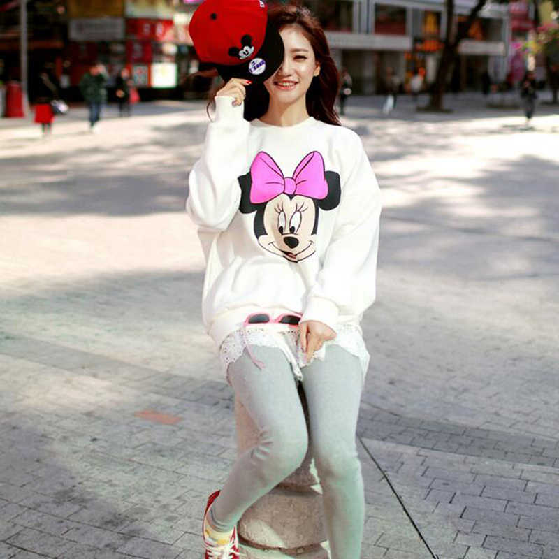 Leuke Mickey Print Vrouwen Hoodie Dunne Fashion Lange Mouwen O Neck Cotton Dames Sweater Casual Losse Womens Hoodies Pullover