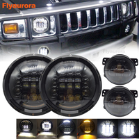 black 2pcs 90w H4 7 inch led headlight with Pair 4'' 30W front bumper led fog light Fog Lamp For AM General Hummer 1992~2001
