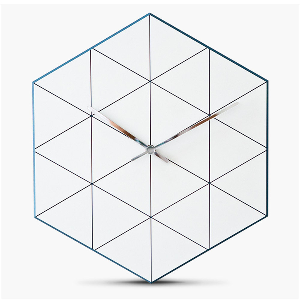 Hexagon Pine Wood Wall Clock Advanced European Minimalist Geometric Lines Exquisite Artistic Silently Clock for Cafe