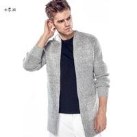 KALEBO merk fashion mannen vest lange zwarte vest geen vest jas grijs casual lange jas set warme herfst en winter
