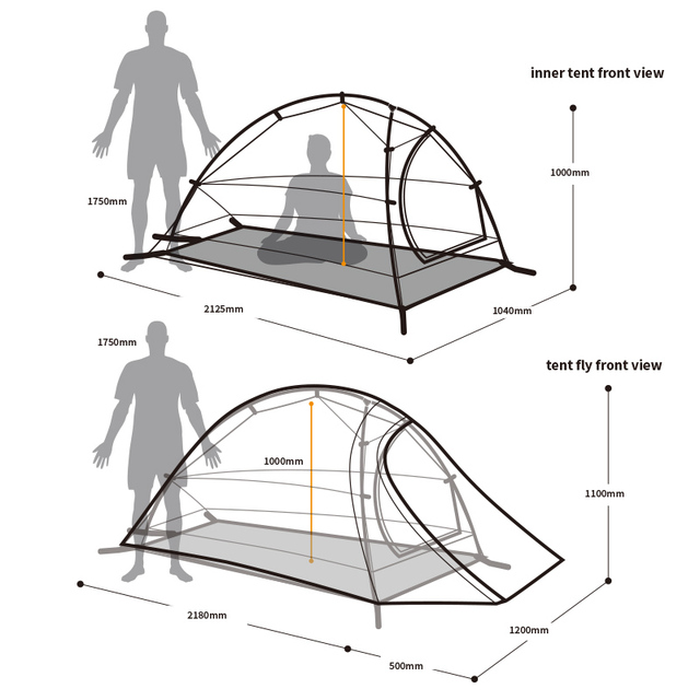 Naturehike Tent 1.1kg  1 Person 20D Silicone Fabric Double-layer Camping Tent Ultralight Outdoor Tent 4Seasons NH15T001-T