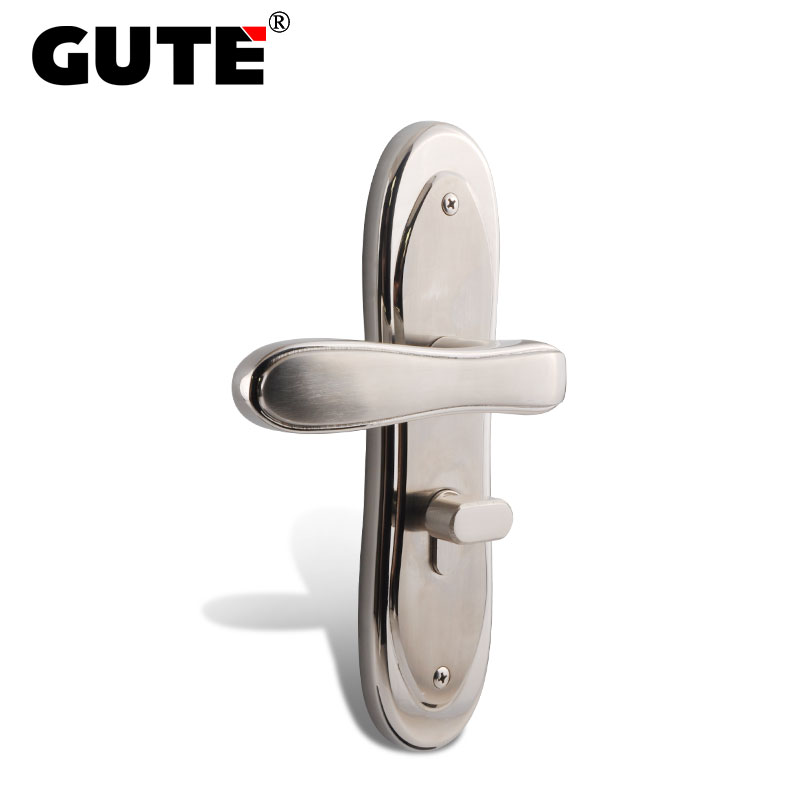 GUTE Door Lock 304 Stainless Steel Wood Durable Interior Door Handle Lock Mute Room Modern Style Door Knobs Lock Anti-theft 304 stainless steel door handle lock anti theft door lock mute copper cylinder wood door stainless steel handle split locks