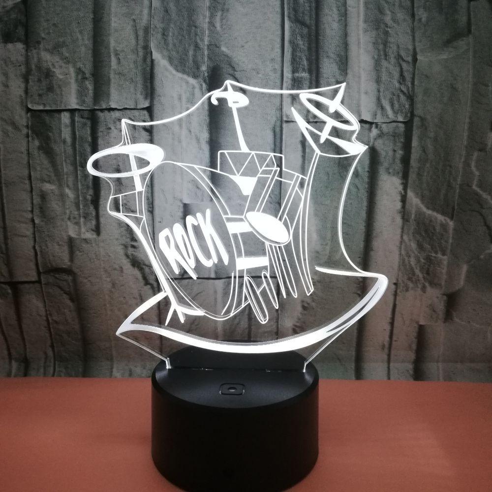 Красочные рок барабан акриловая 3d Светодиодная лампа led визуальный сенсорный выключатель Acrylique Usb настольная лампа постепенный маленький н...