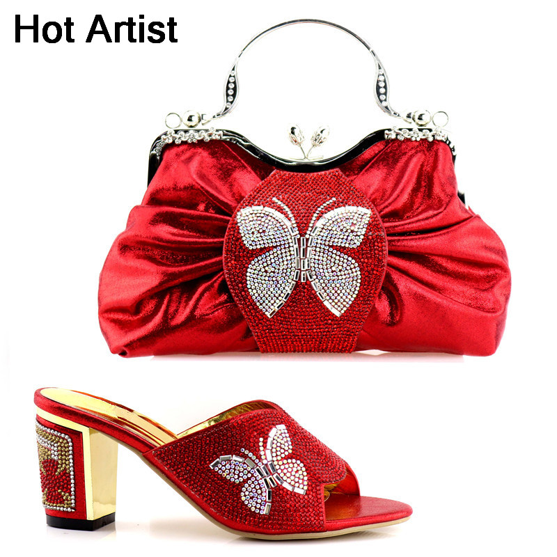 Hot Artist 2018 Fashion Butterfly Rhinestone High Heels Shoes And Bag Set For Party Italian Shoes With Matching Bag Set YK-91