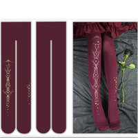 Gothic 300 Density Women S Thick Tights Rose Printed Pantyhose By Yidhra