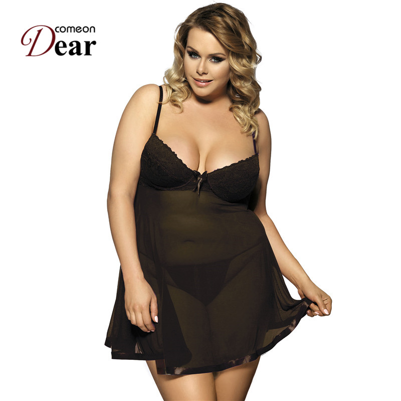 Comeondear Sheer Sleeveless <font><b>Lingerie</b></font> Erotica For Women <font><b>Push</b></font> <font><b>Up</b></font> Cup Babydoll Transparent Fancy Night Dress Gecelik <font><b>Sexy</b></font> RJ7763 image