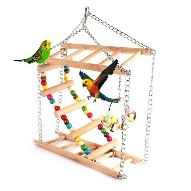 Parrots Toys Bird Swing Exercise Climbing Hanging Ladder Bridge Wooden Rainbow Pet Parrot Macaw Hammock Bird Toy With Bells