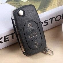 цена на 433MHz 3 Buttons Remote Folding key Keyless Entry Fob ID48 Chip Transponder Chip Fit For Audi A6 TT 4D0837231K Old Models