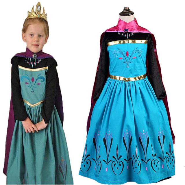 Snow Queen Anna Vestidos para Niñas Trajes de fantasía de Los Niños con Capa Carnaval Ropa de La Muchacha Niños Elsa Princess Dress Invierno