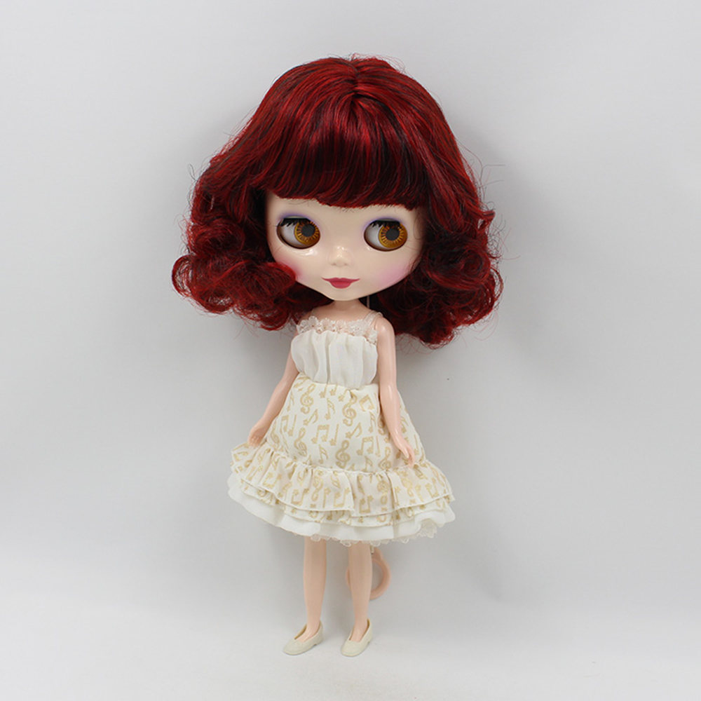 blyth doll normal body red hair with bangs bob hair style factory130MMBL12489103blyth it suitable for girl