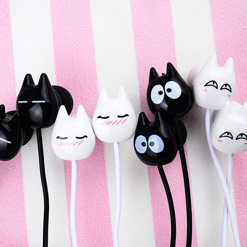 Chiclits Earphone Cute cartoon cat 3.5 mm stereo with mic In-ear headset for iPhone Xiaomi Girls Kids student for Mp3 Mp4 gifts (5)