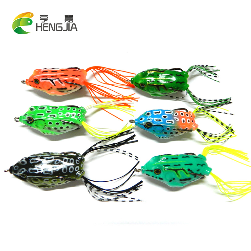 6ks Frog Fishing Lure 5.5CM 12.5G Soft Art Frog Bait Top Water with Hook Snakehead Fishing Tackle