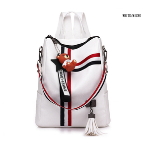 Image 2 - LISM shoulder bag for youth bags leather Tassel 2020 new retro fashion zipper ladies backpack leather high quality school bag