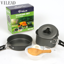 VILEAD Portable Outdoor Cookware Sets Camping Picnic Tableware Pan Pot Set for 1-2 Person Ultralight Outdoor Cooking Tools