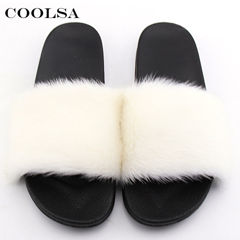 Coolsa Summer Women Mink Slippers Real Mink Fur Slides PVC Flat - Zapatos de mujer - foto 2