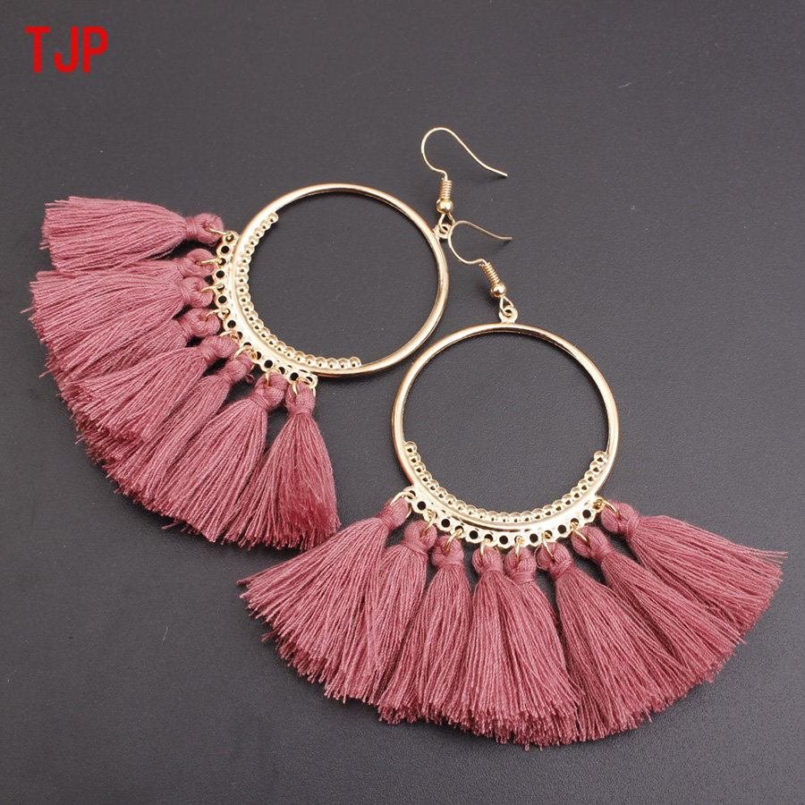 TJP 2019 Ethnic Bohemian White Tassel Earrings Long Rope Fringes Cotton Sector Drop Dangle Earrings for Women Fashion Jewelry in Drop Earrings from Jewelry Accessories