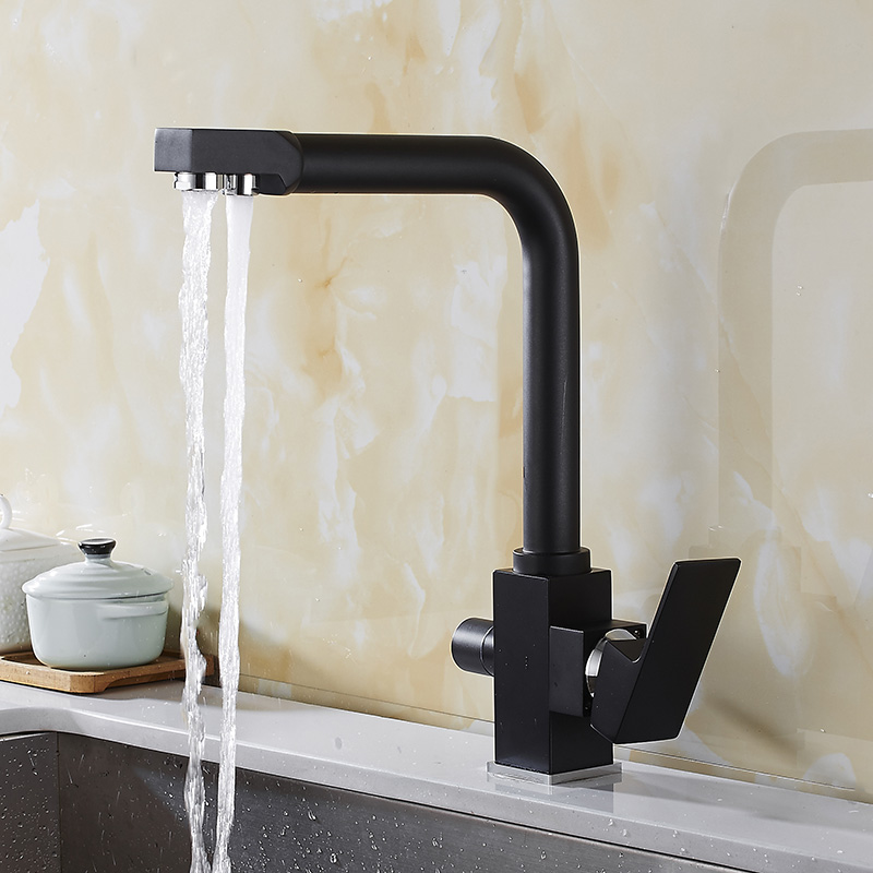 Kitchen Faucets Silver Brass Deck Mounted Mixer Tap Black Paint 360 Degree Rotation with Water Purification Features YD 782