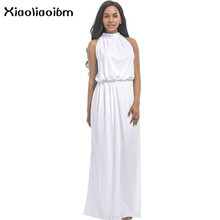 Summer Dress Plus Size Summer Long Loose 3xl Women Plus Size Halter Blue See Through Dress Long Women Maxi Dress