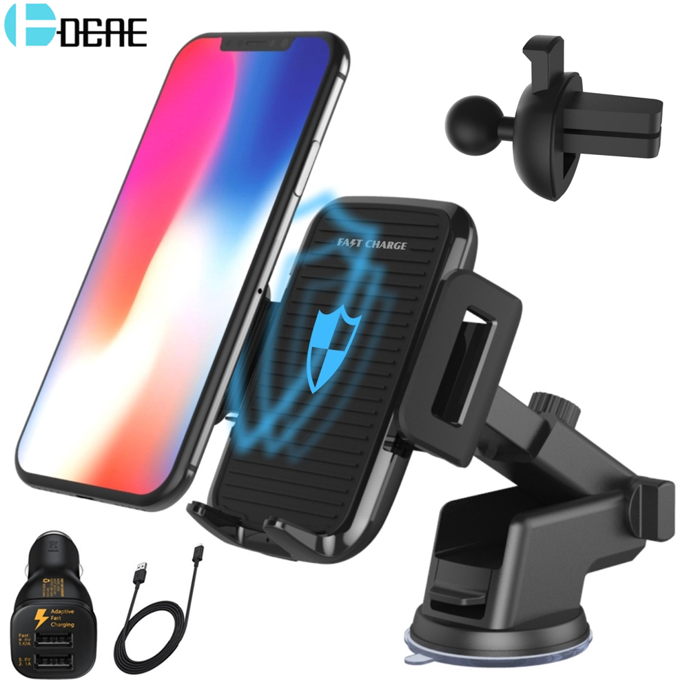 DCAE Car Qi Wireless Charger For iPhone X 8 Plus 10W Quick Charger Fast Wireless Charging Pad Car Holder Stand For Samsung S9 S8