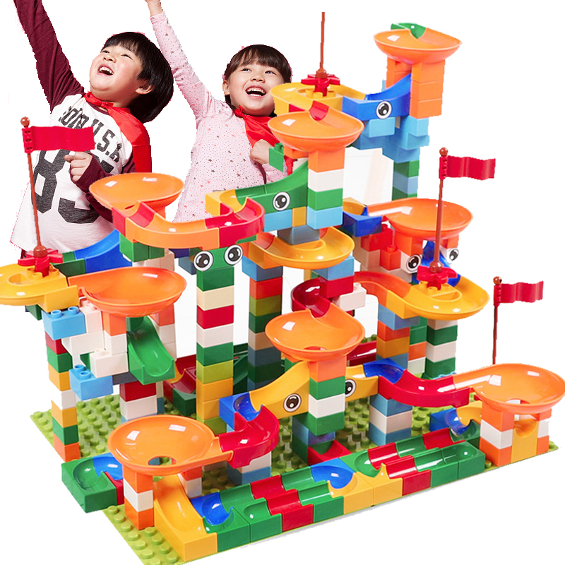 296 pièces grande taille bloc marbre course labyrinthe balle piste blocs de construction ABS entonnoir glisser Compatible LegoINGlys Duploe blocs