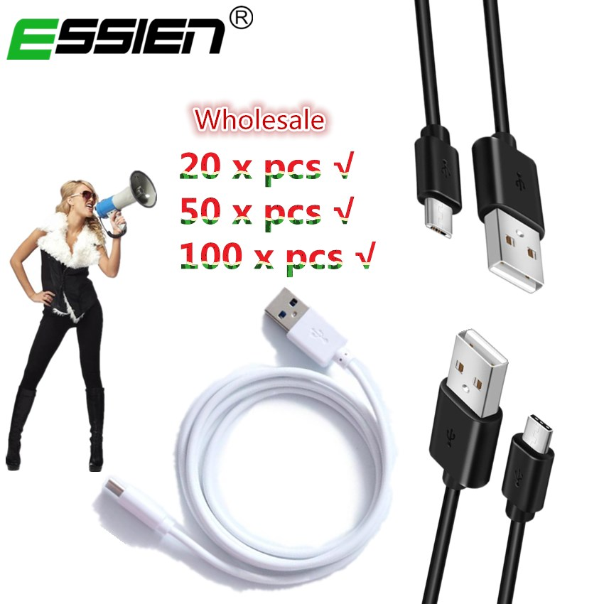 ESSIEN 20/50/100 pcs Wholesale 1m Micro USB USB-C Charger Cable Mobile Phone Charging Cable Type C Micro Android Tablet Cable