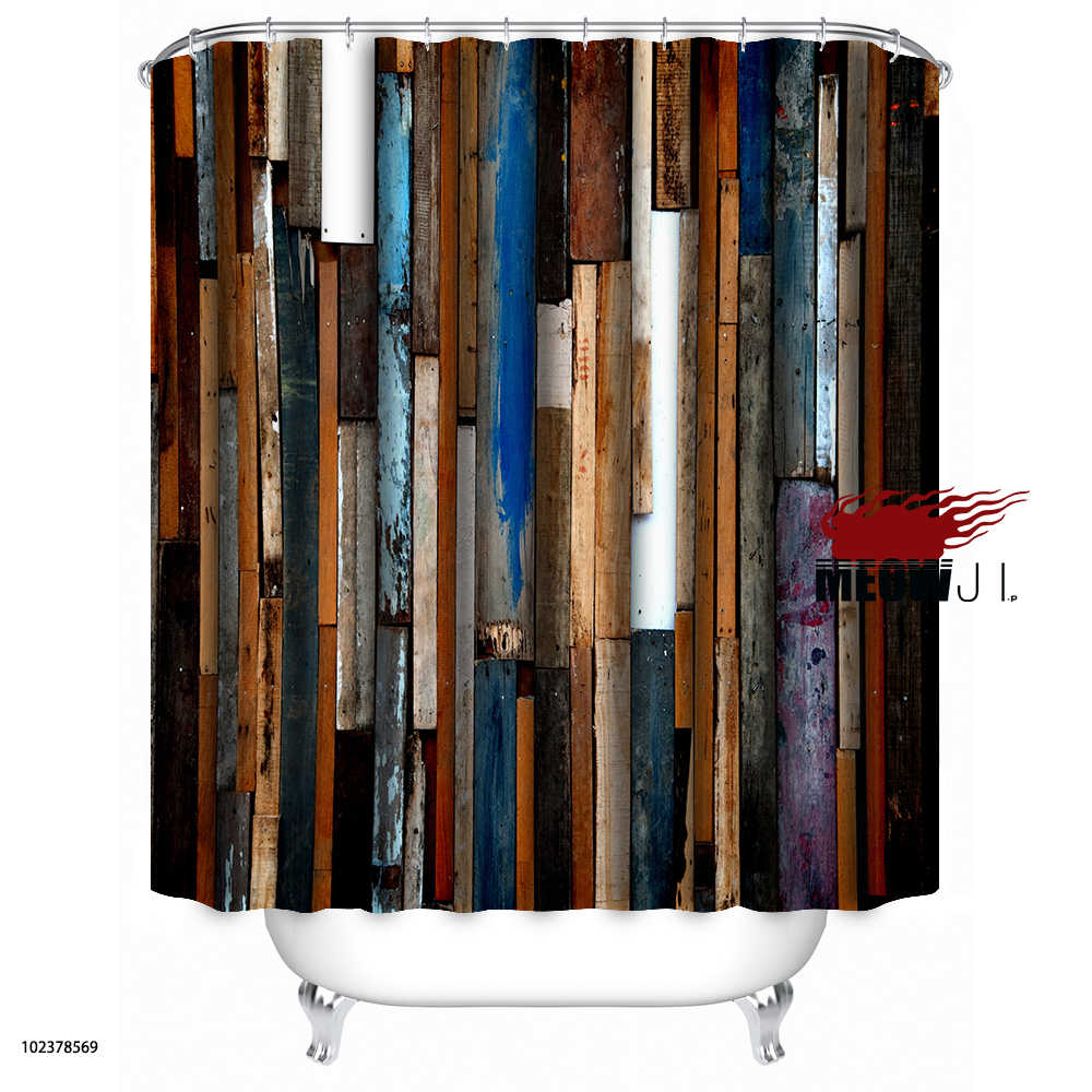 Красочные роскошные деревянные деревенские текстуры Баттен дерево Винтаж Пользовательские занавески для душа Декор ванной комнаты различные размеры Бесплатная доставка