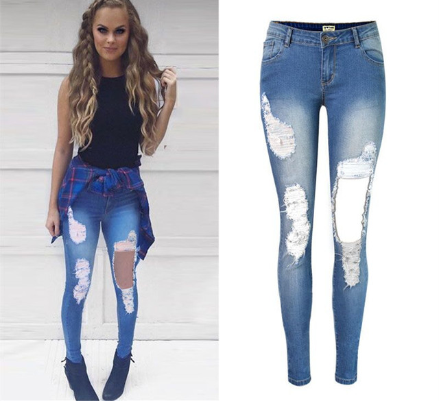 f7f32839dd245 Sexy big ripped hole tassels bleached full length skinny jeans pencil pants  jegging leggings trousers plus size woman women