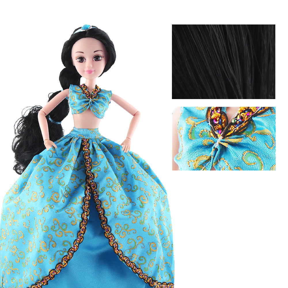 Aladdin Princess Dolls Rapunzel Long Hair Fashion Toys Joint Moving Body Long Thick Blonde hair Birthday Girl Gift doll