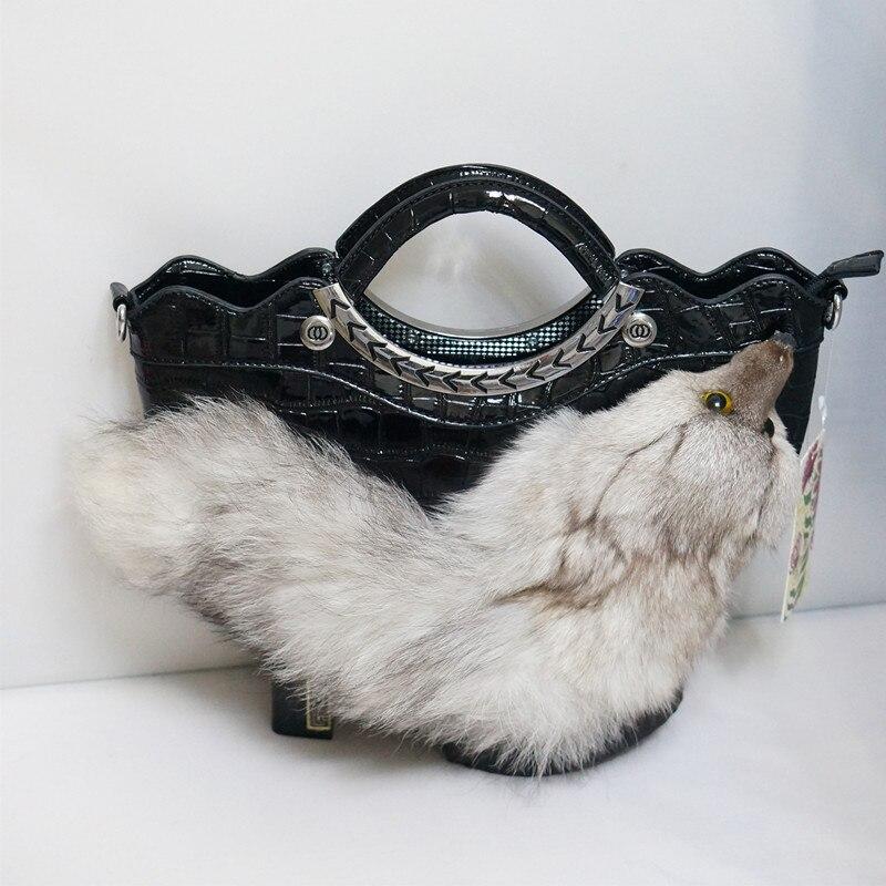 High quality female handbag luxury fox plush cartoon design ladies shoulder bag large capacity zipper casual bag