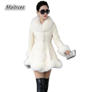 Latest Winter Female Sheepskin Coats High Quality Faux Fur Pure Color Fox Collars Snap Fastener Furs Big Yards Slim