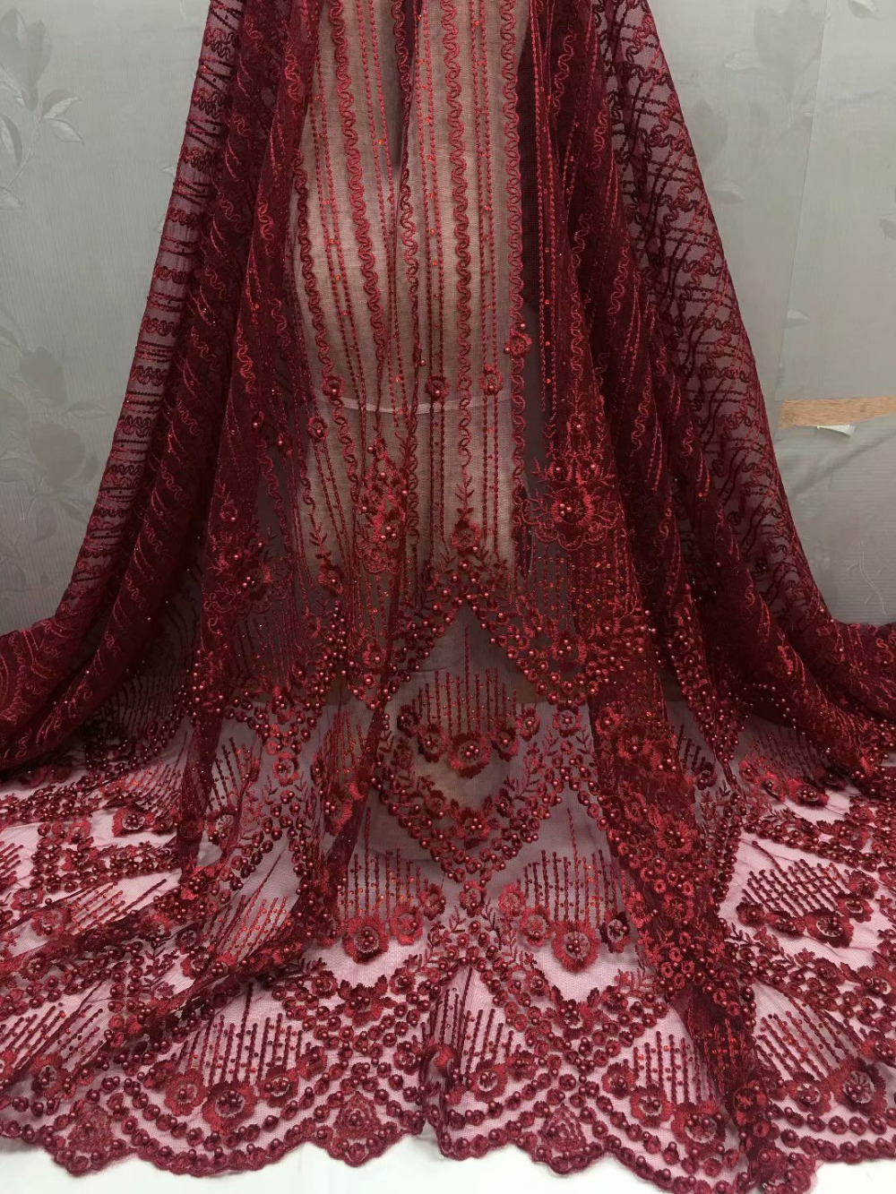 Elegante tela de tul nigeriano encaje francés con piedras cuentas 2018 tela de encaje de novia africana de alta calidad para vestido de novia dorado-in encaje from Hogar y Mascotas    3
