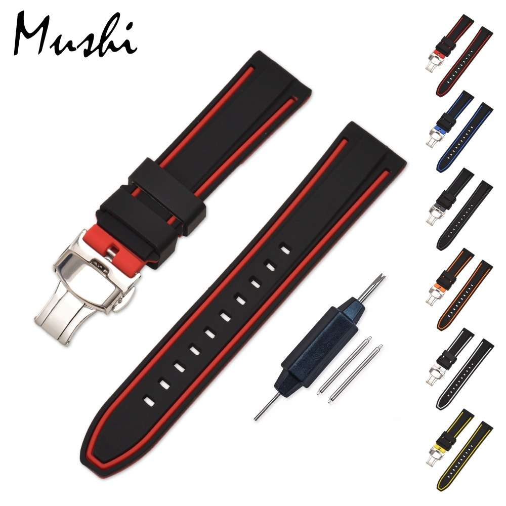 Silicone Watch Strap Rubber Wrist Watch Bracelet with Stainless Steel Butterfly Buckle Clasp 20mm 22mm 24mm Watch Strap w/ tool 1pc silver stainless steel men wrist watch bracelet strap 16 22mm watchbands with push button buckle clasp men watch accessorie