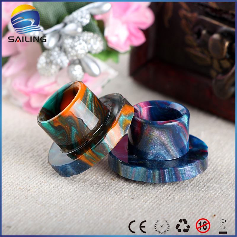 Sailing electronic cigarette Epoxy resin drip tips stainless steel core top cap for Cleito 120 atomizer
