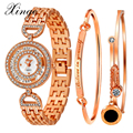 Xinge Luxury Brand Watch Women Rose Gold Crystal Dress Quartz Wristwatches Women Fashion Popular Stainless Steel Bracelet Watch
