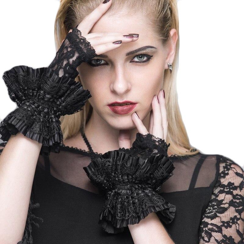 Devil Fashion Punk Lolita Lace Women Gloves Noble Black Gloves Short Skull Arm Sleeves Free Size Fingerless Gloves