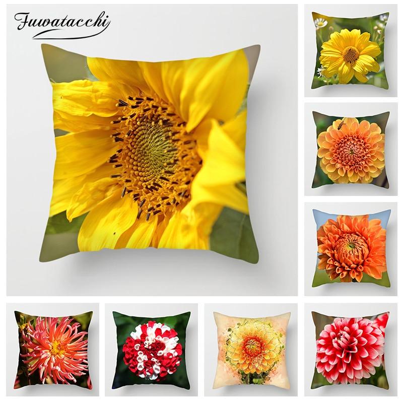 Fuwatacchi Sunflower Cushion Covers Flower Painting Pillow Decorative Home Sofa Chair Car Chrysanthemum Pillowcase