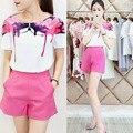 Europa Del Verano 2015 de las nuevas mujeres pantalones cortos de dos piezas traje de chaqueta de ocio Coreano sello de moda femenina