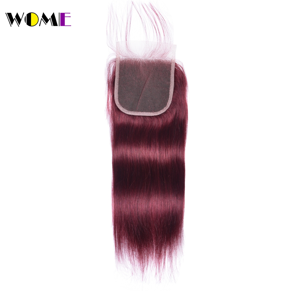 Wome Vietnamese Straight Hair Closure 99j Red Burgundy Non remy Human Hair Top Lace Closure with Baby Hair 4x4 Bleached Knots-in Closures from Hair Extensions & Wigs    1