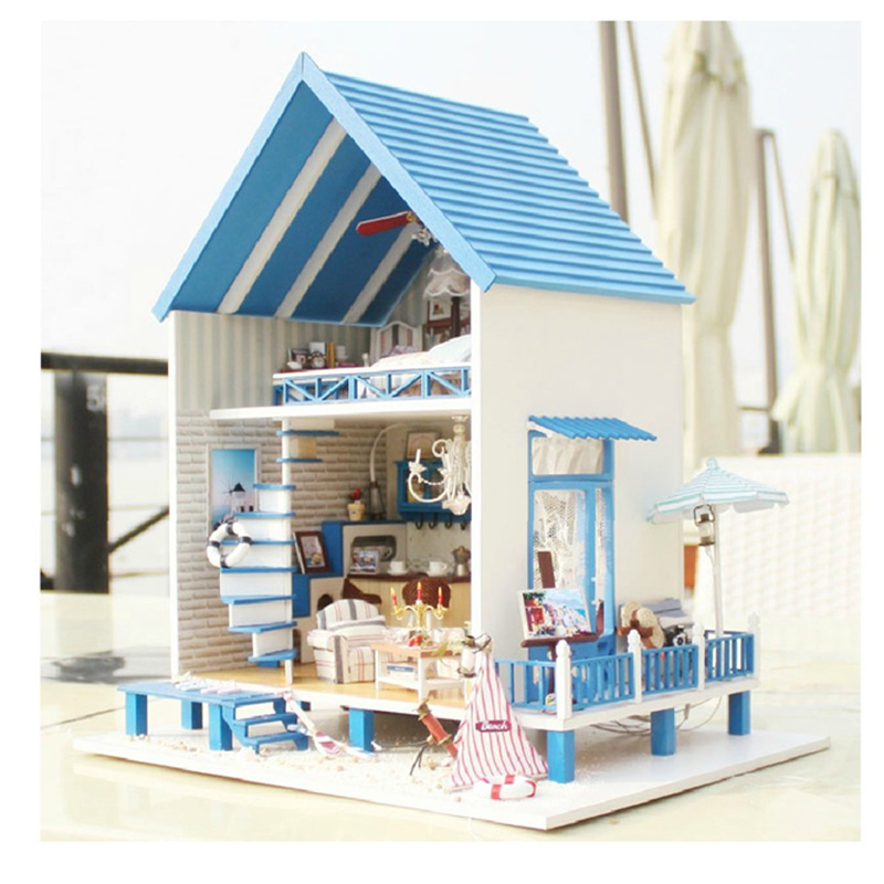 Cute Room DIY Miniature Dollhouse With Furnitures 3D Model Wooden Doll House Toys Gifts For Chrildren Romantic Aegean A018 #E cute room diy doll house miniature wooden dollhouse miniaturas furniture toy house doll toys for christmas and birthday gift k13