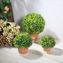 Xuanxiaotong Green Grass Ball Artificial Bonsai Plant with Pottery for Home Decor Outdoor Garden Decoration High Quality
