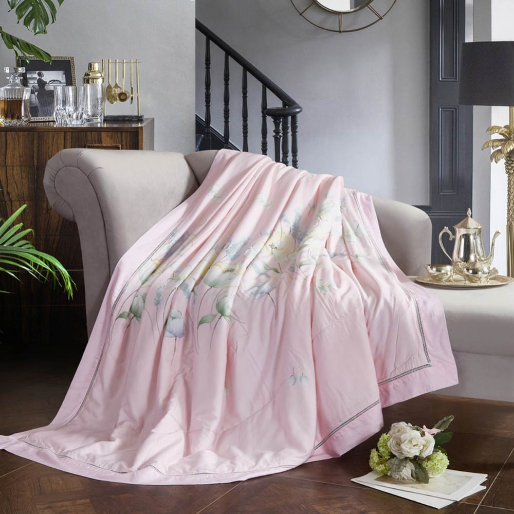 2019 Fresh Flowers Pink Quilting Quilt Soft Stitching Modal Artificial Silk Polyester Filler Queen King Summer Comforter2019 Fresh Flowers Pink Quilting Quilt Soft Stitching Modal Artificial Silk Polyester Filler Queen King Summer Comforter