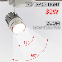 LED Track light cob 30w zoom angle ajustable light angle Clothing Shop Windows Showroom Spotlight Ceiling Rail spot lamp