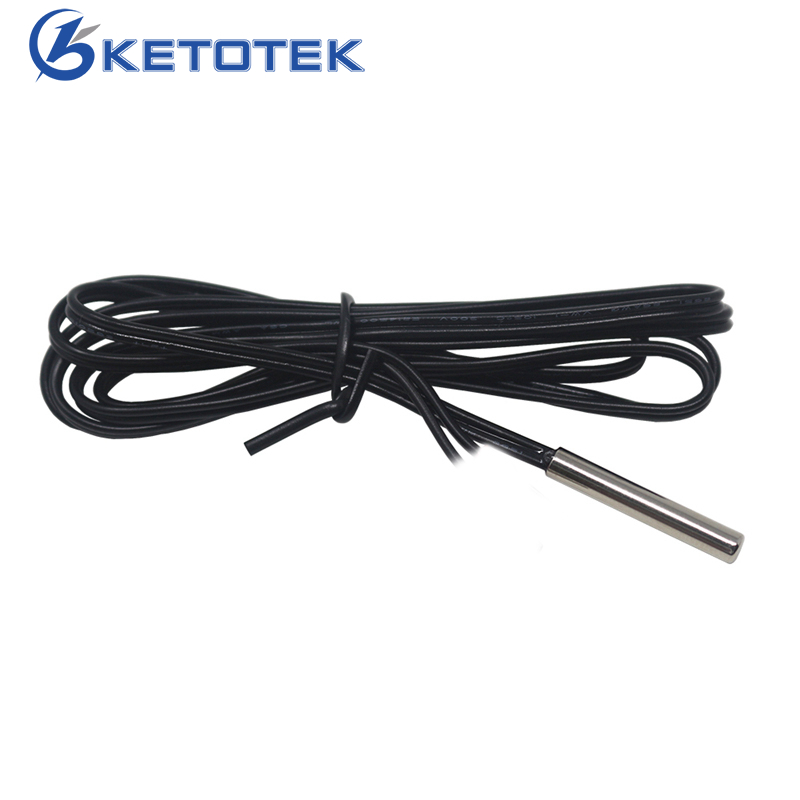 1m 2m 5m NTC 10K Temperature Sensor Probe -40-120C  Cylinder-shaped 4*25mm Used In Temperature Controller