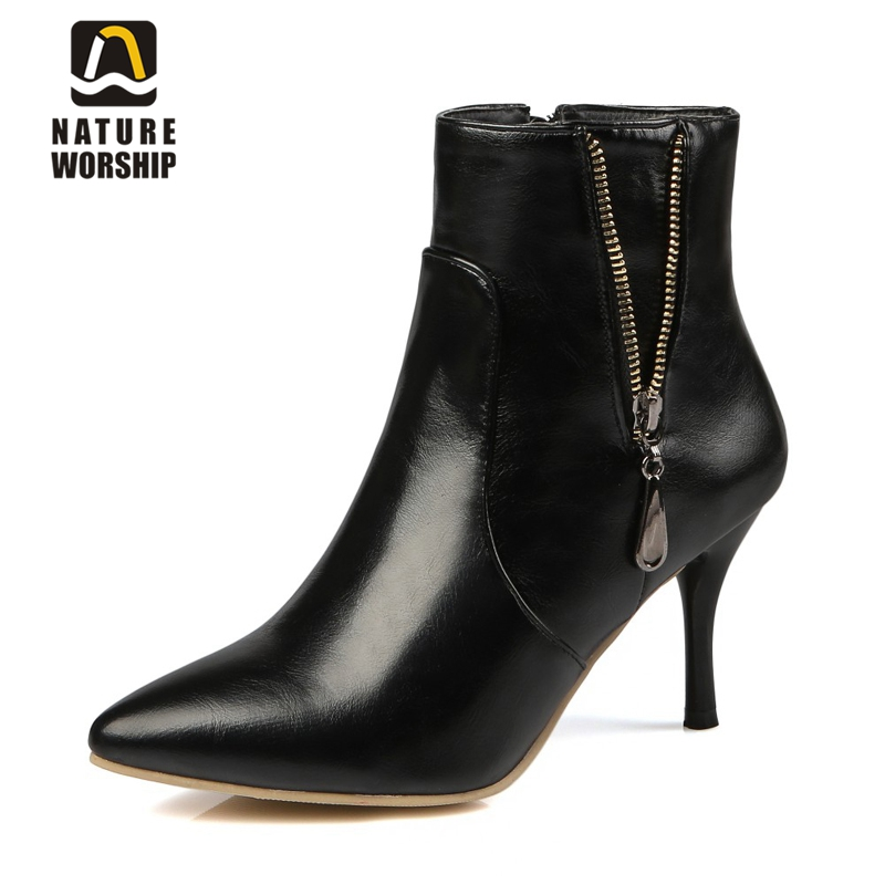 High thin heels women boots fashion Ankle boots Sequined Pointed Toe Knight boots women shoes Solid Soft Leather Martin boots size 34 43 2016 fashion women s ankle boots black motorcycle pu leather boots solid pointed toe martin boots autumn shoes